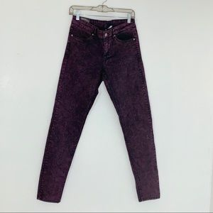 H&M Divided Burgundy & Black Jeans Size 12 NWT